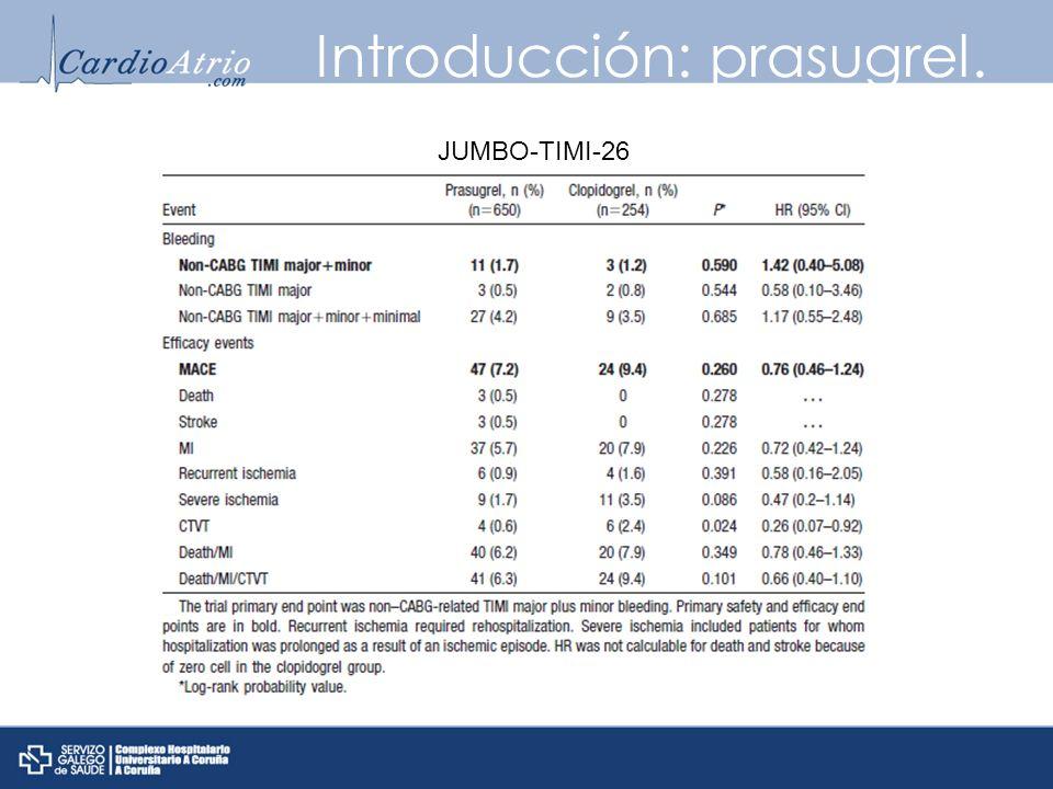 Introducción: prasugrel. JUMBO-TIMI-26