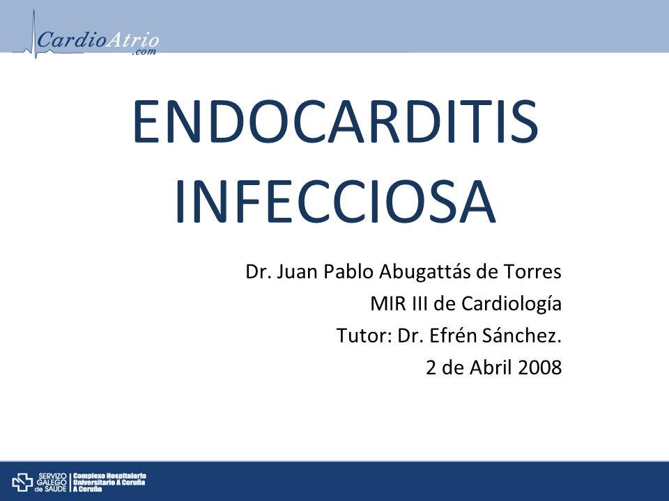 ENDOCARDITIS INFECCIOSA Dr. Juan Pablo Abugattás de Torres MIR III de Cardiología Tutor: Dr. Efrén Sánchez. 2 de Abril 2008