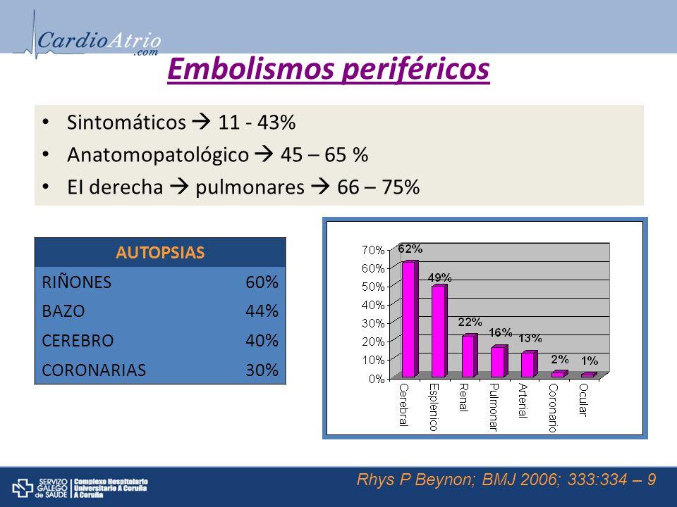 Embolismos periféricos AUTOPSIAS RIÑONES60% BAZO44% CEREBRO40% CORONARIAS30% Sintomáticos 11 - 43% Anatomopatológico 45 – 65 % EI derecha pulmonares 6