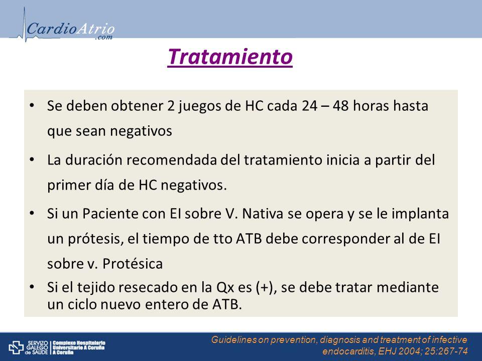 Tratamiento Se deben obtener 2 juegos de HC cada 24 – 48 horas hasta que sean negativos La duración recomendada del tratamiento inicia a partir del pr