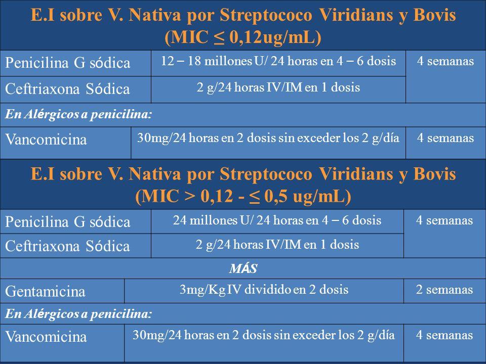 E.I sobre V. Nativa por Streptococo Viridians y Bovis (MIC 0,12ug/mL) Penicilina G s ó dica 12 – 18 millones U/ 24 horas en 4 – 6 dosis 4 semanas Ceft