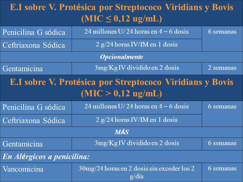 E.I sobre V. Prot é sica por Streptococo Viridians y Bovis (MIC 0,12 ug/mL) Penicilina G s ó dica 24 millones U/ 24 horas en 4 – 6 dosis 6 semanas Cef