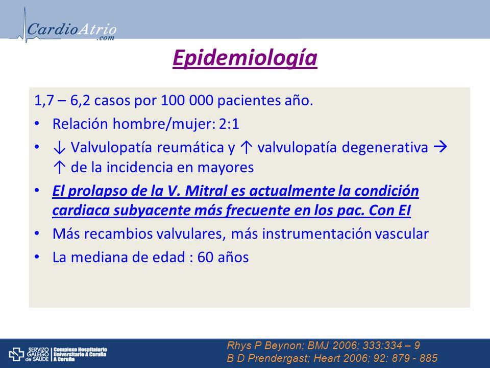 1,7 – 6,2 casos por 100 000 pacientes año. Relación hombre/mujer: 2:1 Valvulopatía reumática y valvulopatía degenerativa de la incidencia en mayores E