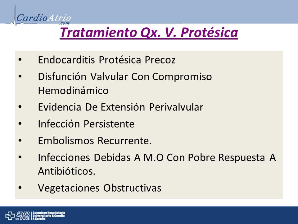 Tratamiento Qx. V. Protésica Endocarditis Protésica Precoz Disfunción Valvular Con Compromiso Hemodinámico Evidencia De Extensión Perivalvular Infecci