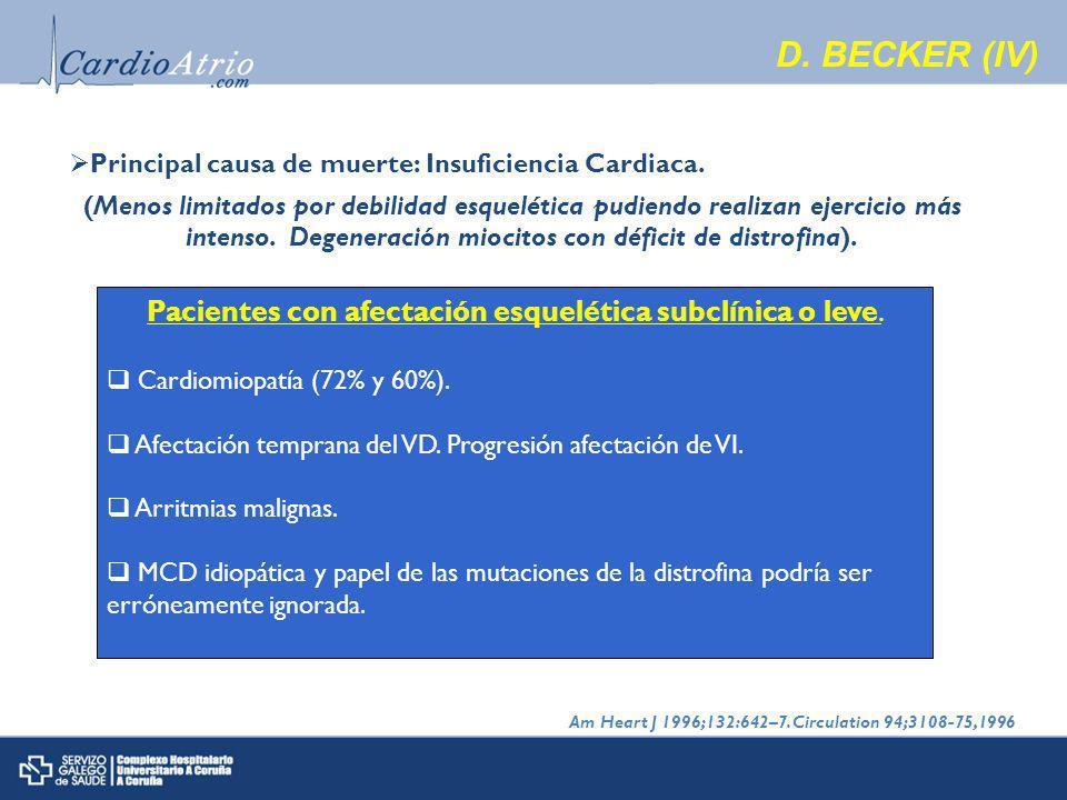 Principal causa de muerte: Insuficiencia Cardiaca.