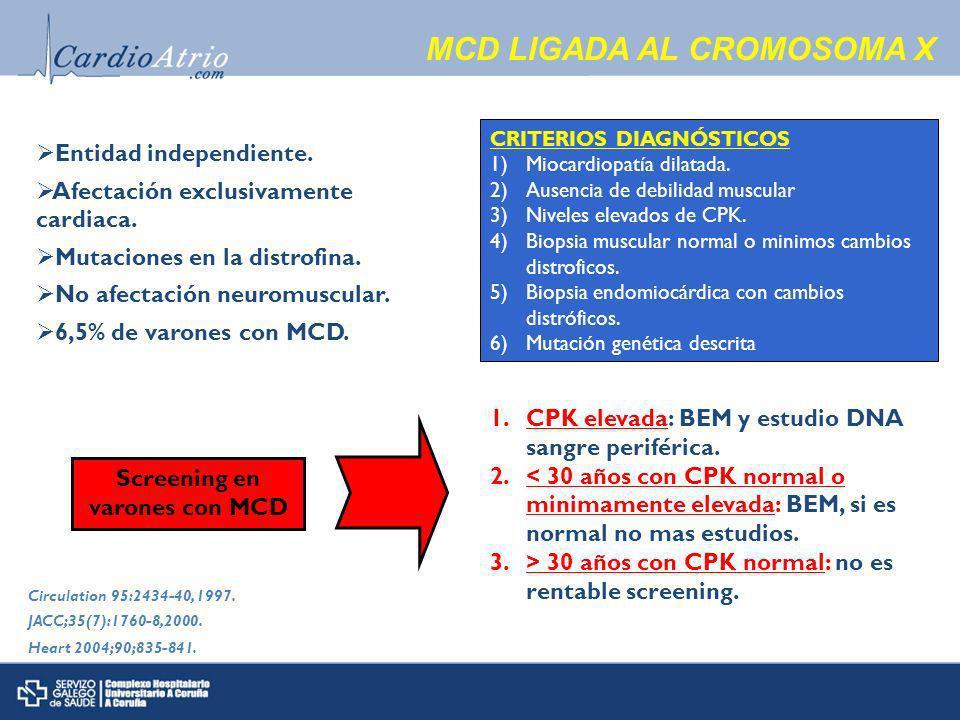 MCD LIGADA AL CROMOSOMA X Entidad independiente.Afectación exclusivamente cardiaca.