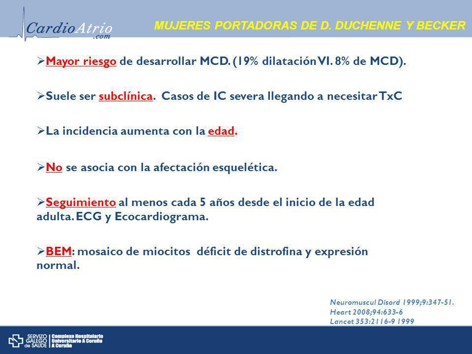 MUJERES PORTADORAS DE D.DUCHENNE Y BECKER Mayor riesgo de desarrollar MCD.