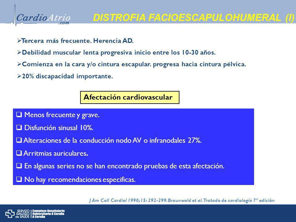 DISTROFIA FACIOESCAPULOHUMERAL (I) Tercera más frecuente.