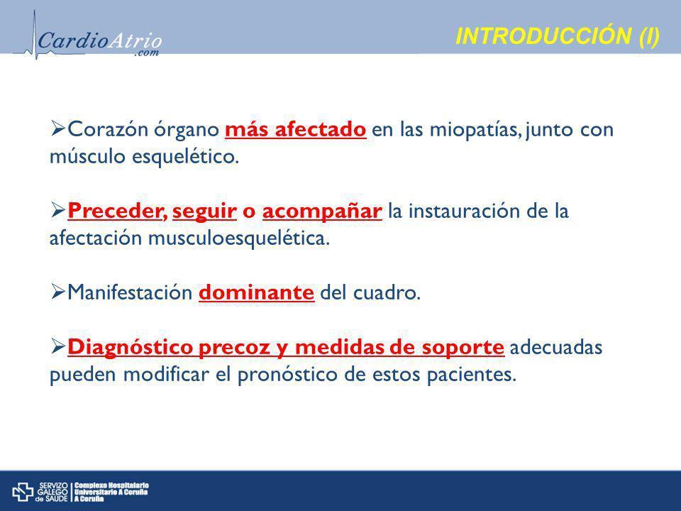 INTRODUCCIÓN (I) Corazón órgano más afectado en las miopatías, junto con músculo esquelético.