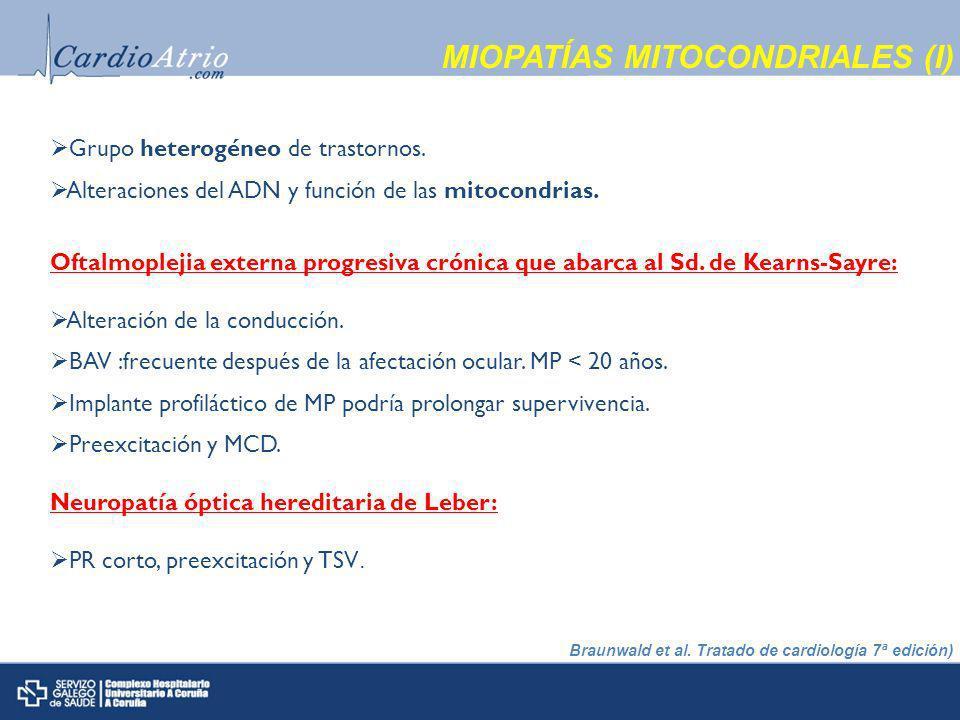 MIOPATÍAS MITOCONDRIALES (I) Oftalmoplejia externa progresiva crónica que abarca al Sd.