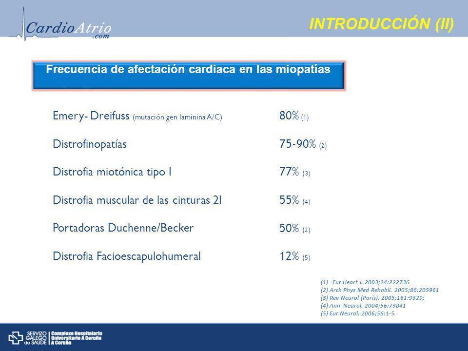 INTRODUCCIÓN (II) Frecuencia de afectación cardiaca en las miopatías Emery- Dreifuss (mutación gen laminina A/C) Distrofinopatías Distrofia miotónica tipo I Distrofia muscular de las cinturas 2I Portadoras Duchenne/Becker Distrofia Facioescapulohumeral 80% (1) 75-90% (2) 77% (3) 55% (4) 50% (2) 12% (5) (1)Eur Heart J.
