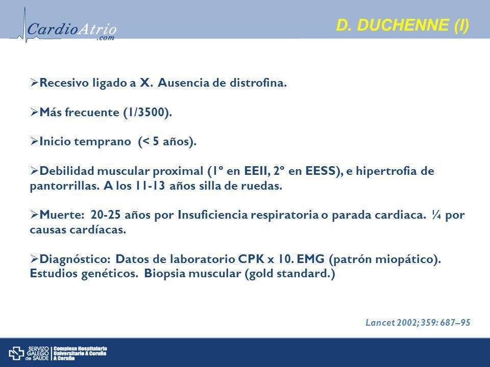 D.DUCHENNE (I) Recesivo ligado a X. Ausencia de distrofina.