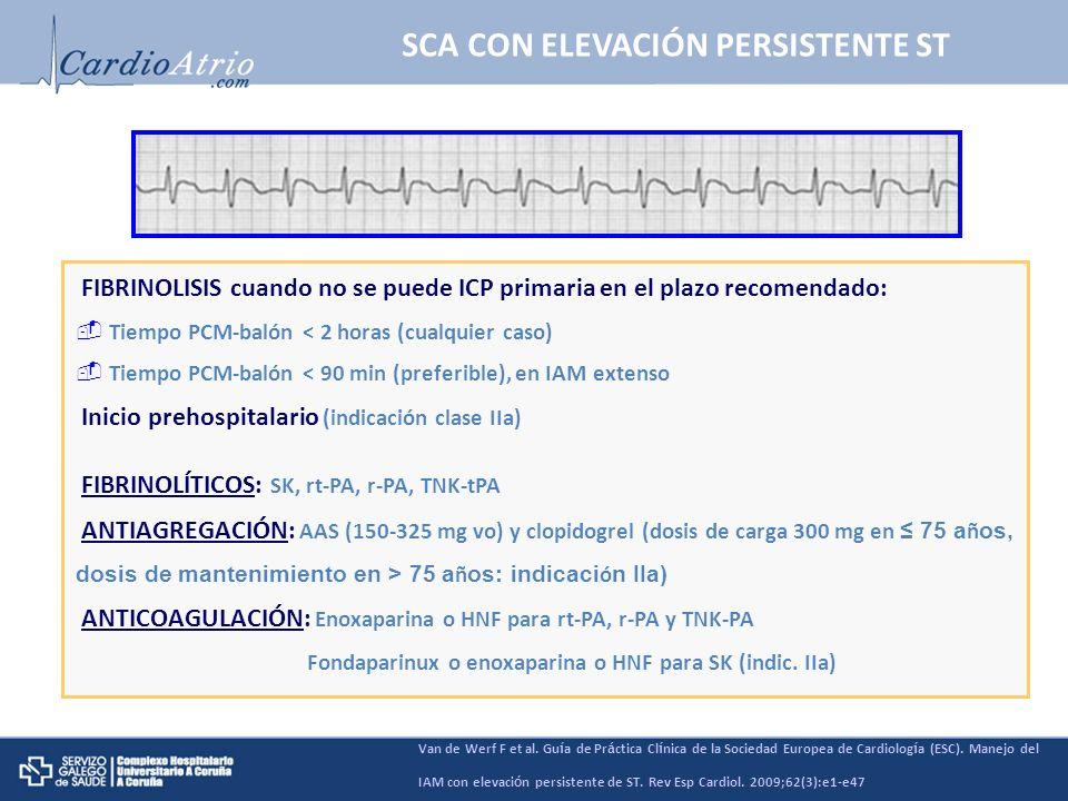 SCA CON ELEVACIÓN PERSISTENTE ST Van de Werf F et al. Gu í a de Pr á ctica Cl í nica de la Sociedad Europea de Cardiolog í a (ESC). Manejo del IAM con