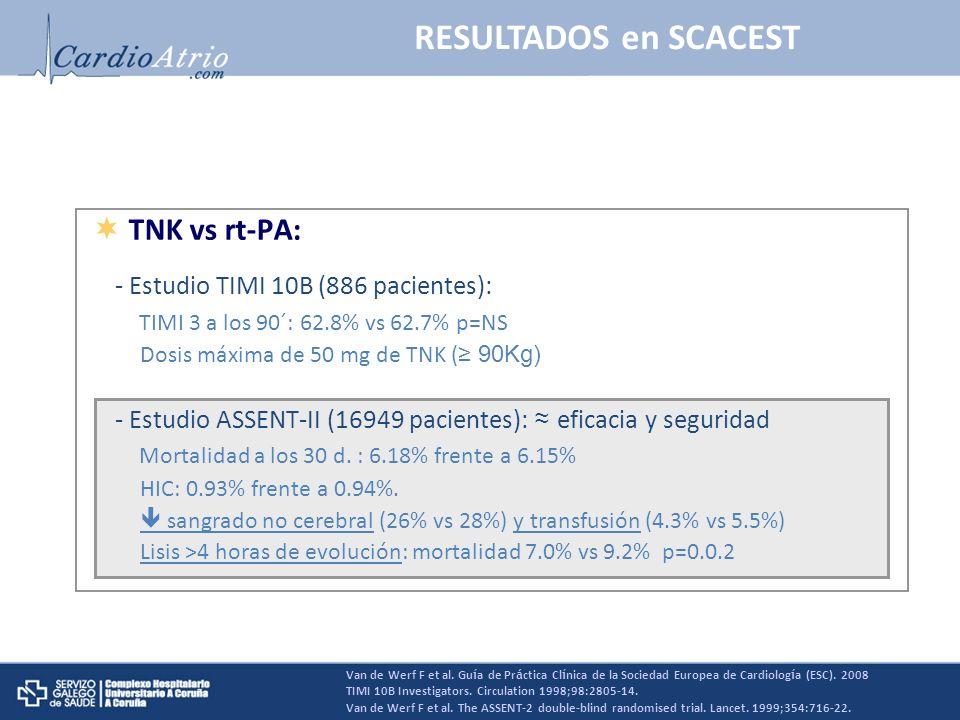 RESULTADOS en SCACEST Van de Werf F et al. Gu í a de Pr á ctica Cl í nica de la Sociedad Europea de Cardiolog í a (ESC). 2008 TIMI 10B Investigators.