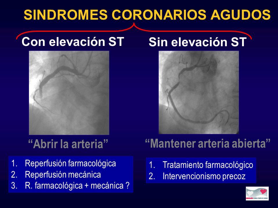 SINDROMES CORONARIOS AGUDOS Sin elevación ST Abrir la arteria 1.Reperfusión farmacológica 2.Reperfusión mecánica 3.R. farmacológica + mecánica ? Mante
