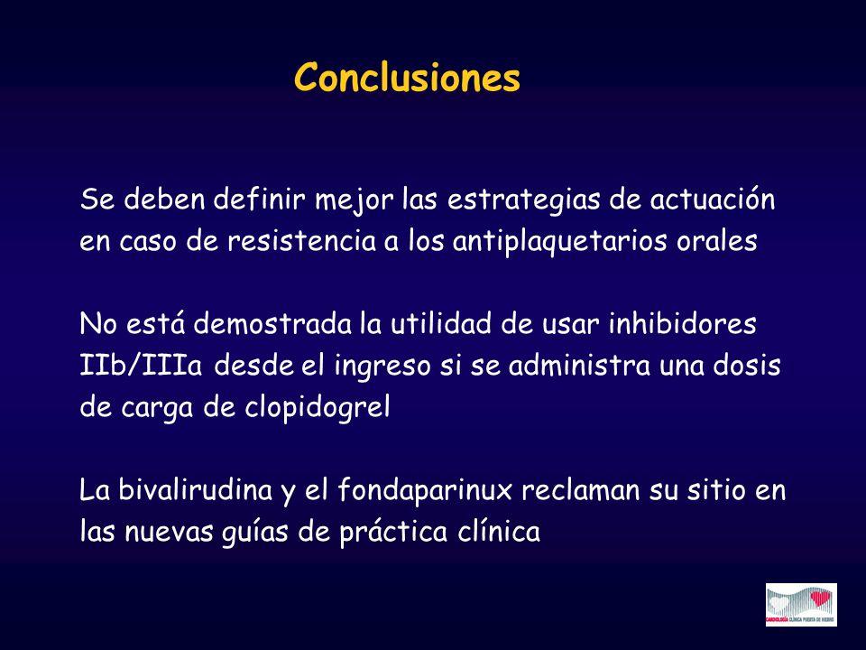 Conclusiones Se deben definir mejor las estrategias de actuación en caso de resistencia a los antiplaquetarios orales No está demostrada la utilidad d