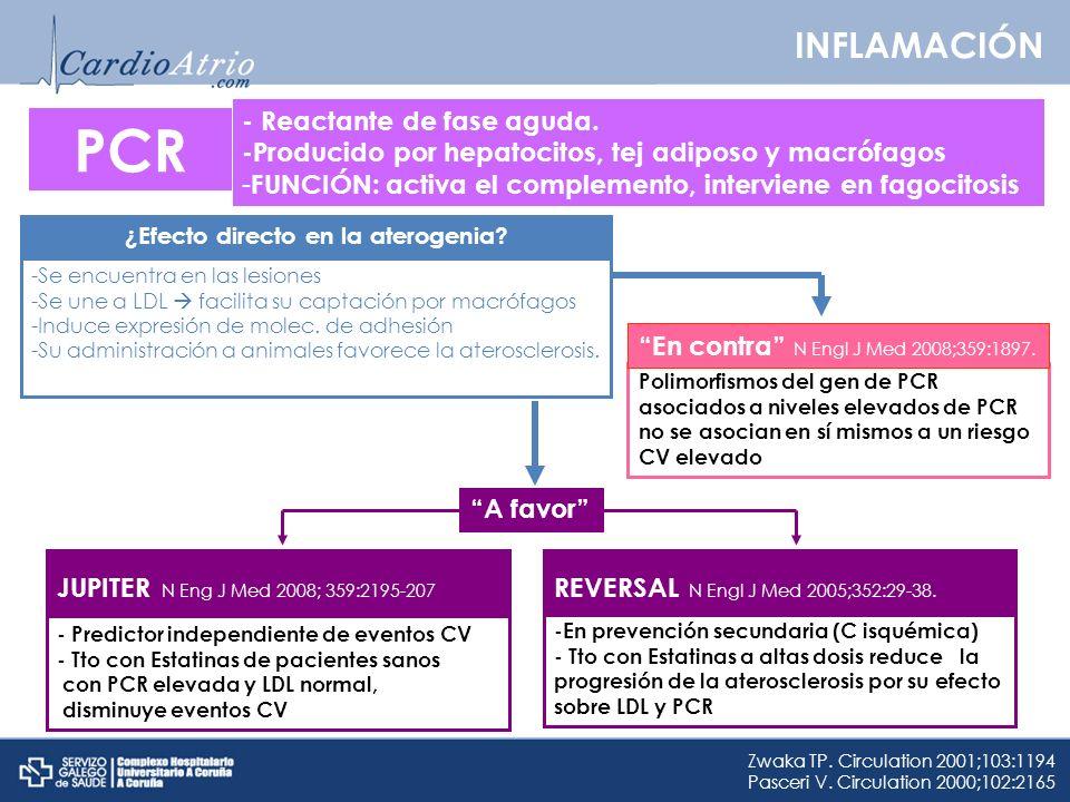 INFLAMACIÓN PCR ¿Efecto directo en la aterogenia? -Se encuentra en las lesiones -Se une a LDL facilita su captación por macrófagos -Induce expresión d