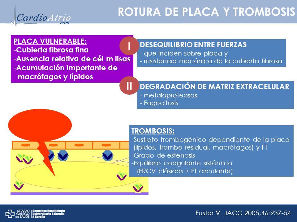 ROTURA DE PLACA Y TROMBOSIS PLACA VULNERABLE: - Cubierta fibrosa fina - Ausencia relativa de cél m lisas - Acumulación importante de macrófagos y lípi