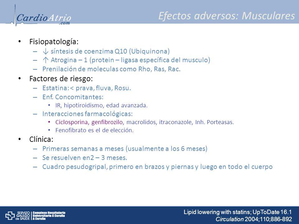 Efectos adversos: Musculares Fisiopatología: – síntesis de coenzima Q10 (Ubiquinona) – Atrogina – 1 (protein – ligasa específica del musculo) – Prenil
