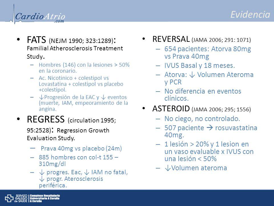 Evidencia FATS (NEJM 1990; 323:1289) : Familial Atherosclerosis Treatment Study. – Hombres (146) con la lesiones > 50% en la coronario. – Ac. Nicotini