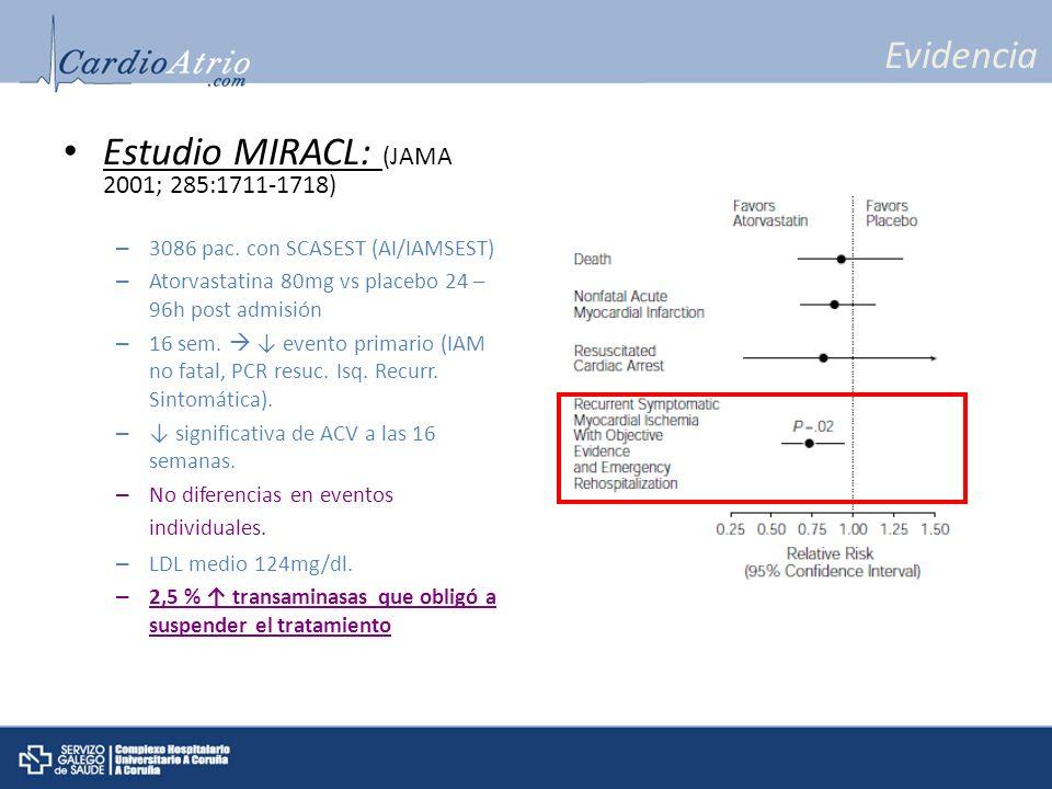 Evidencia Estudio MIRACL: (JAMA 2001; 285:1711-1718) – 3086 pac. con SCASEST (AI/IAMSEST) – Atorvastatina 80mg vs placebo 24 – 96h post admisión – 16