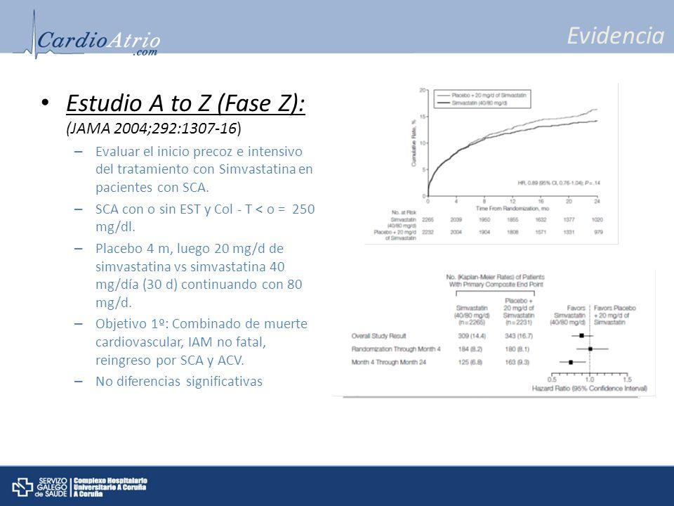 Evidencia Estudio A to Z (Fase Z): (JAMA 2004;292:1307-16) – Evaluar el inicio precoz e intensivo del tratamiento con Simvastatina en pacientes con SC
