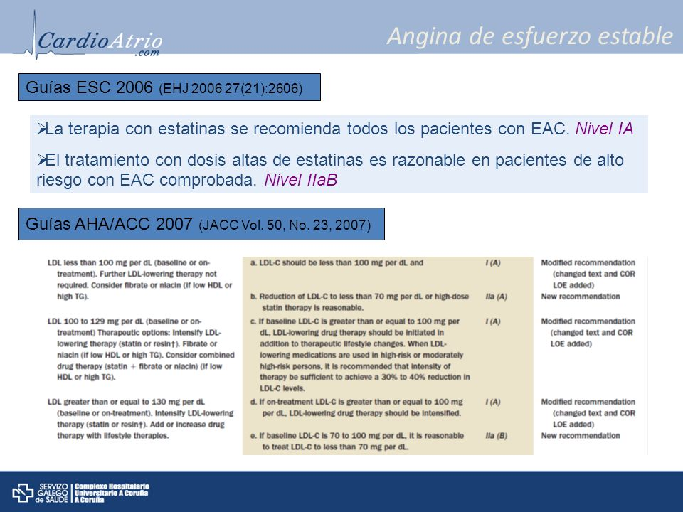 Angina de esfuerzo estable La terapia con estatinas se recomienda todos los pacientes con EAC. Nivel IA El tratamiento con dosis altas de estatinas es