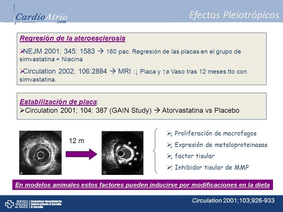 Efectos Pleiotrópicos Regresión de la ateroesclerosis NEJM 2001; 345: 1583 160 pac. Regresión de las placas en el grupo de simvastatina + Niacina Circ