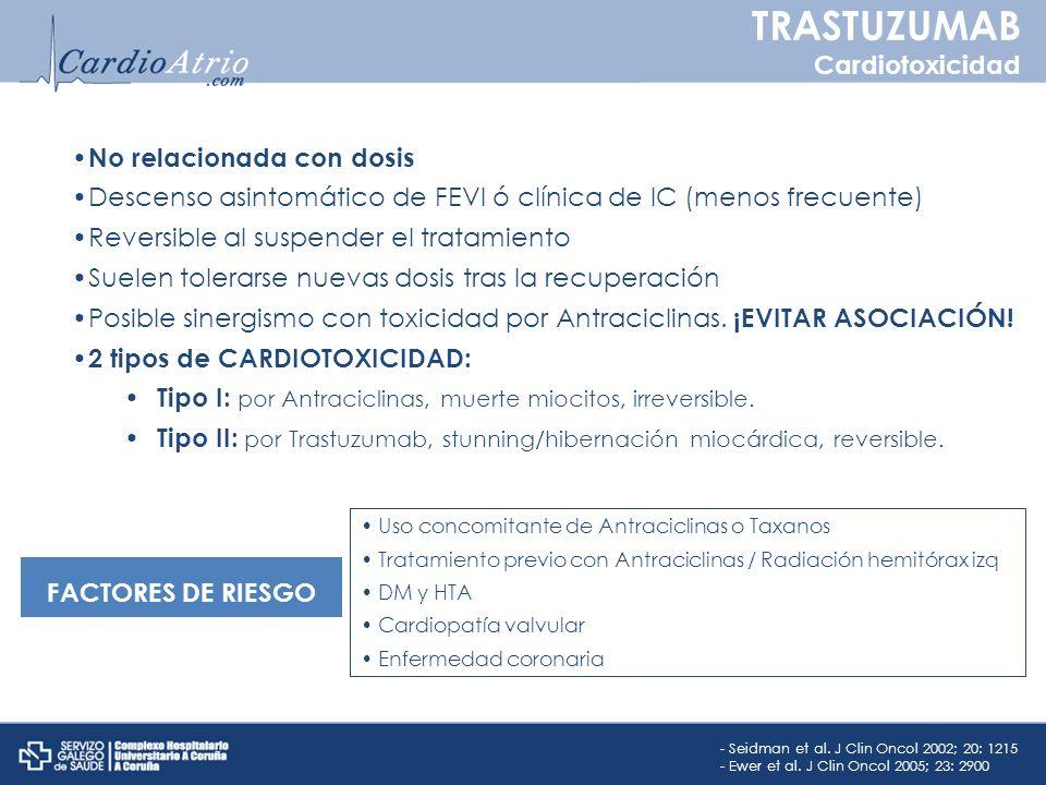 No relacionada con dosis Descenso asintomático de FEVI ó clínica de IC (menos frecuente) Reversible al suspender el tratamiento Suelen tolerarse nueva