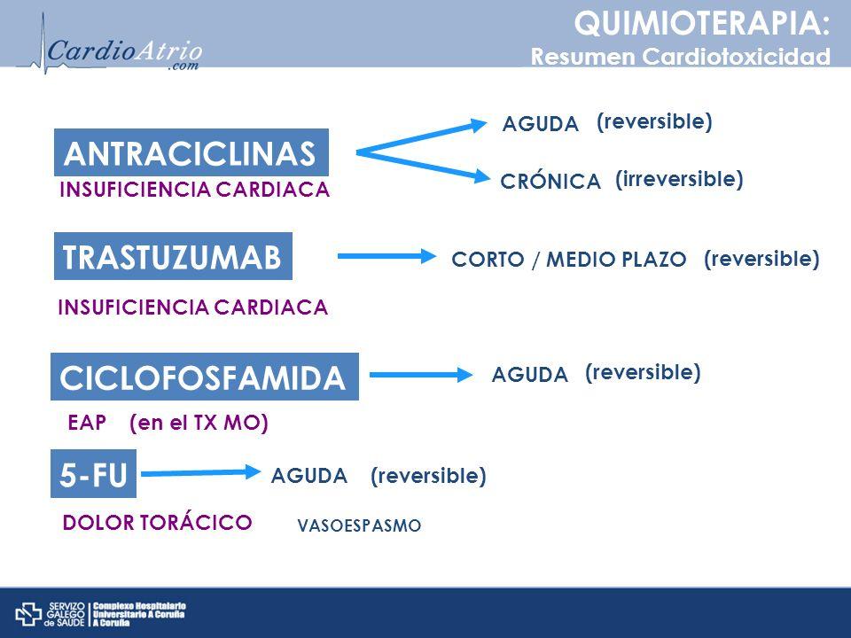 QUIMIOTERAPIA: Resumen Cardiotoxicidad ANTRACICLINAS AGUDA CRÓNICA INSUFICIENCIA CARDIACA (reversible) (irreversible) TRASTUZUMAB INSUFICIENCIA CARDIA
