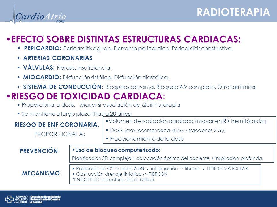 PERICARDIO: Pericarditis aguda. Derrame pericárdico. Pericarditis constrictiva. ARTERIAS CORONARIAS VÁLVULAS: Fibrosis. Insuficiencia. MIOCARDIO: Disf