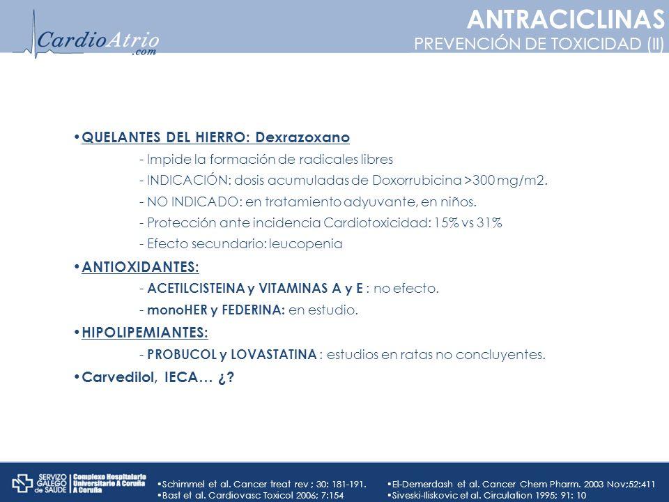 QUELANTES DEL HIERRO: Dexrazoxano - Impide la formación de radicales libres - INDICACIÓN: dosis acumuladas de Doxorrubicina >300 mg/m2. - NO INDICADO: