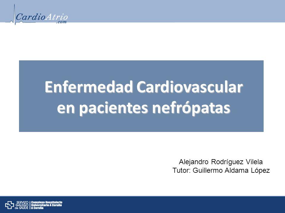 Causas 1.- Factores de riesgo clásicos: - HTA - Dislipemia - DM - Tabaquismo 2.- Factores de riesgo no clásicos: - Inflamación - Stess oxidativo-disfución endotelial - Hipercoagulabilidad - Metabolismo fósforo-calcio Enfermedad CV en el paciente nefrópata