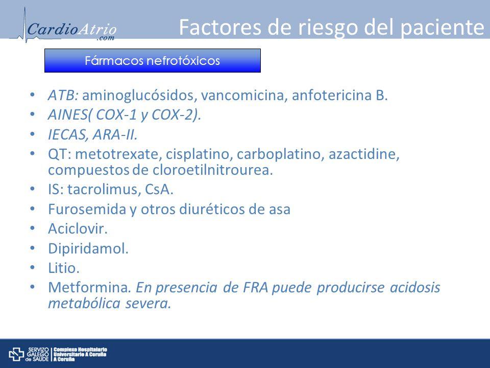 ATB: aminoglucósidos, vancomicina, anfotericina B. AINES( COX-1 y COX-2). IECAS, ARA-II. QT: metotrexate, cisplatino, carboplatino, azactidine, compue