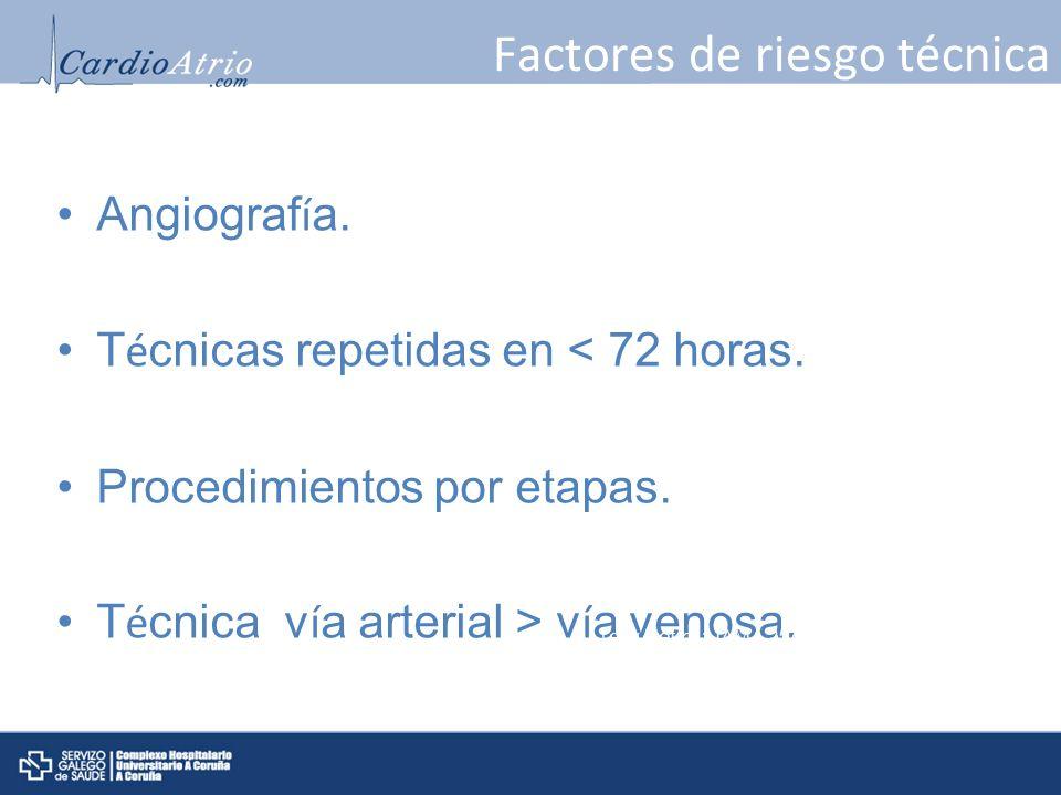 Factores de riesgo técnica Angiograf í a. T é cnicas repetidas en < 72 horas. Procedimientos por etapas. T é cnica v í a arterial > v í a venosa. Levy