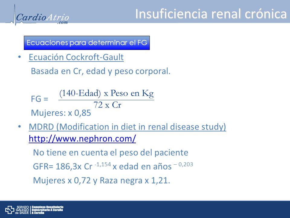 Insuficiencia renal crónica Ecuación Cockroft-Gault Basada en Cr, edad y peso corporal. FG = Mujeres: x 0,85 MDRD (Modification in diet in renal disea
