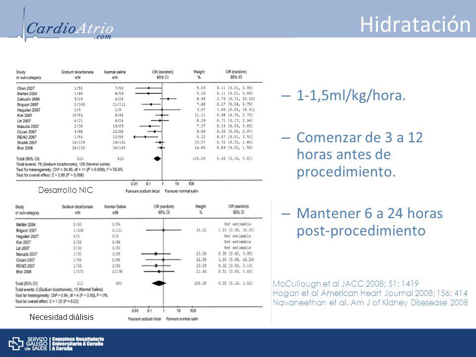 Hidratación – 1-1,5ml/kg/hora. – Comenzar de 3 a 12 horas antes de procedimiento. – Mantener 6 a 24 horas post-procedimiento McCullough et al JACC 200