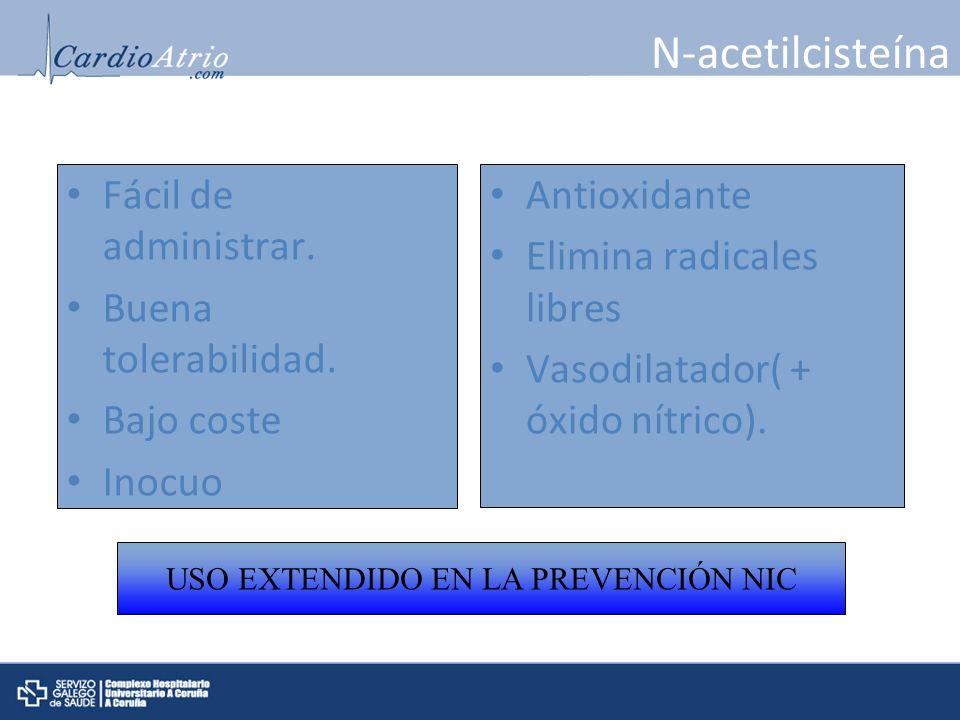 N-acetilcisteína Antioxidante Elimina radicales libres Vasodilatador( + óxido nítrico). Fácil de administrar. Buena tolerabilidad. Bajo coste Inocuo U