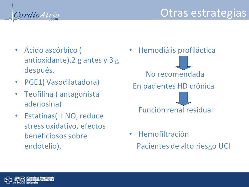 Otras estrategias Ácido ascórbico ( antioxidante).2 g antes y 3 g después. PGE1( Vasodilatadora) Teofilina ( antagonista adenosina) Estatinas( + NO, r