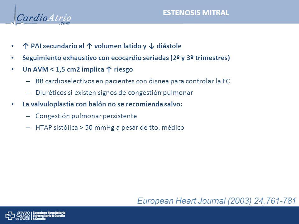 PAI secundario al volumen latido y diástole Seguimiento exhaustivo con ecocardio seriadas (2º y 3º trimestres) Un AVM < 1,5 cm2 implica riesgo – BB ca