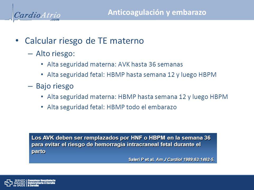 Los AVK deben ser remplazados por HNF o HBPM en la semana 36 para evitar el riesgo de hemorragia intracraneal fetal durante el parto Saleri P et al. A
