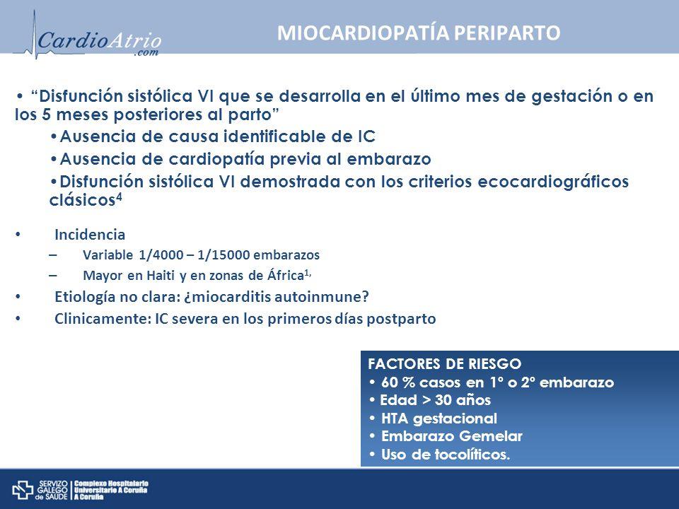 FACTORES DE RIESGO 60 % casos en 1º o 2º embarazo Edad > 30 años HTA gestacional Embarazo Gemelar Uso de tocolíticos. MIOCARDIOPATÍA PERIPARTO Inciden