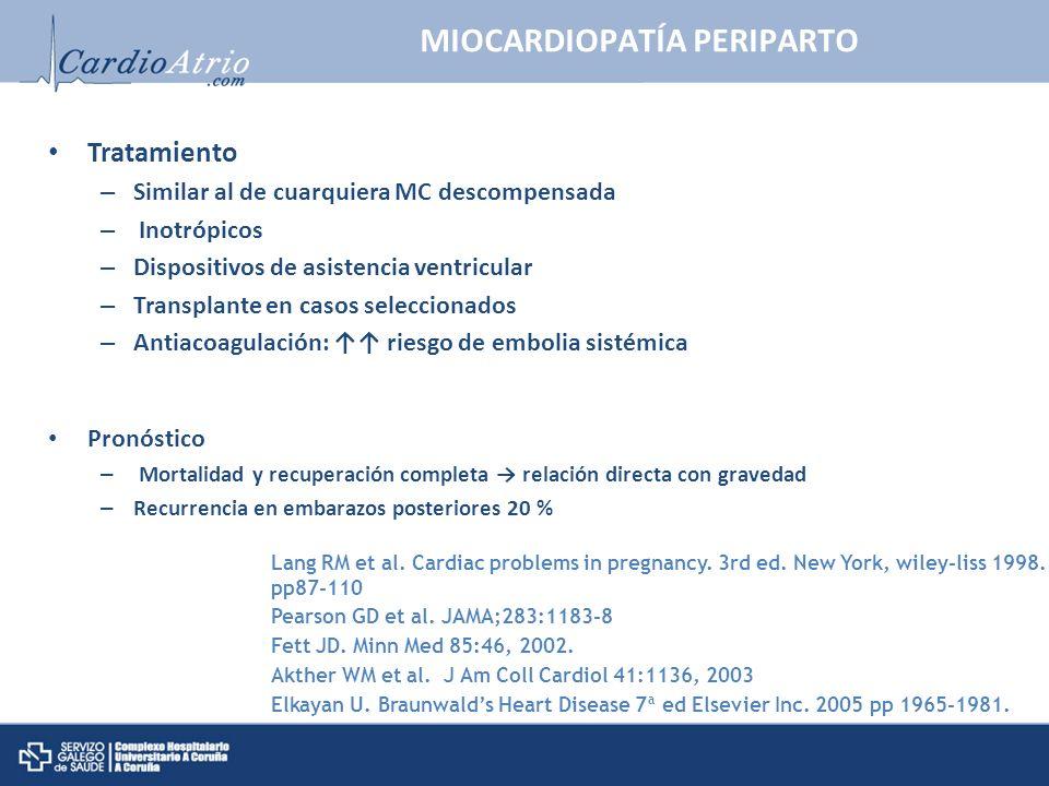 MIOCARDIOPATÍA PERIPARTO Tratamiento – Similar al de cuarquiera MC descompensada – Inotrópicos – Dispositivos de asistencia ventricular – Transplante