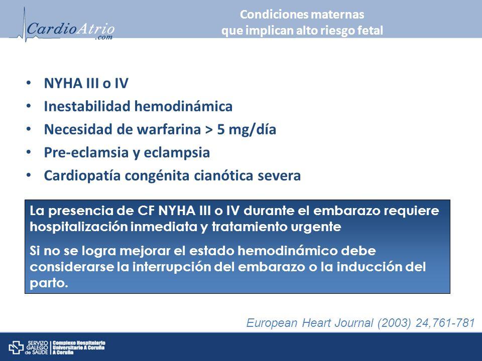 Condiciones maternas que implican alto riesgo fetal NYHA III o IV Inestabilidad hemodinámica Necesidad de warfarina > 5 mg/día Pre-eclamsia y eclampsi