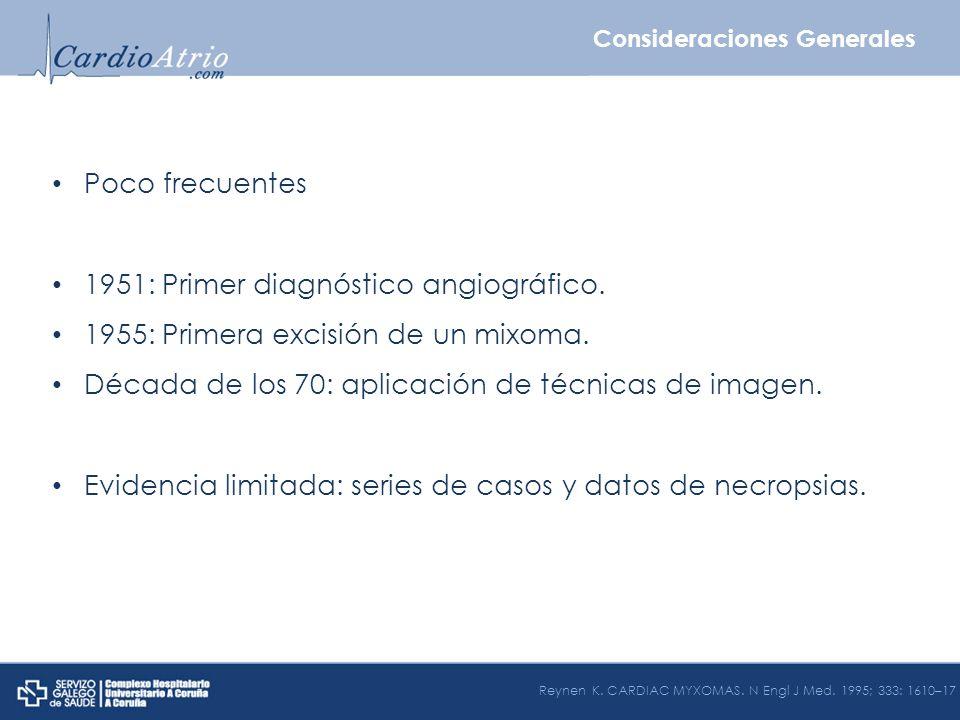 Incidencia 0.001% - 0.03% Clínica Embolización Obstrucción Insuficiencia cardiaca Arritmias Bradiarritmias Taquiarritmias Clínica sistémica Metástasis: 100x Roberts WC.