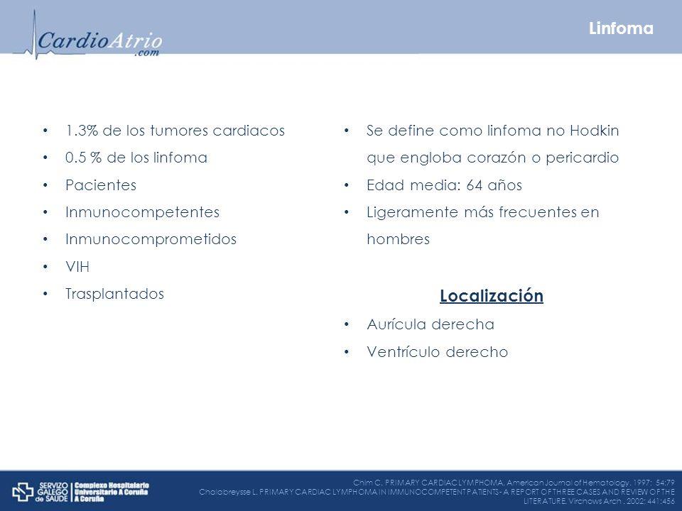 1.3% de los tumores cardiacos 0.5 % de los linfoma Pacientes Inmunocompetentes Inmunocomprometidos VIH Trasplantados Se define como linfoma no Hodkin