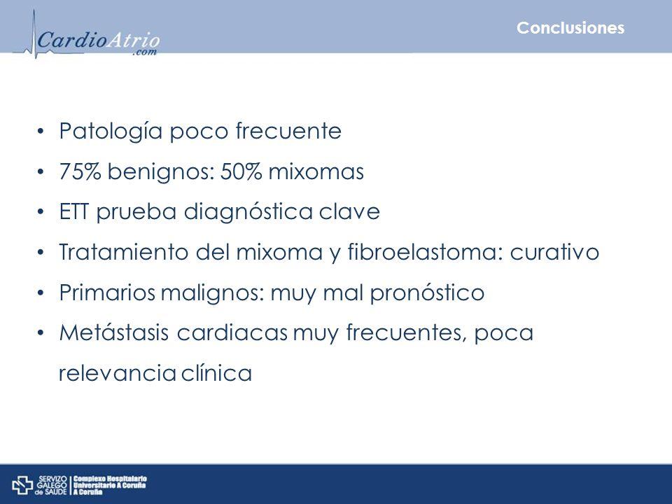 Patología poco frecuente 75% benignos: 50% mixomas ETT prueba diagnóstica clave Tratamiento del mixoma y fibroelastoma: curativo Primarios malignos: m