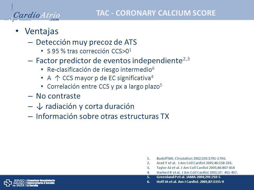 TAC - CORONARY CALCIUM SCORE Ventajas – Detección muy precoz de ATS S 95 % tras corrección CCS>0 1 – Factor predictor de eventos independiente 2,3 Re-