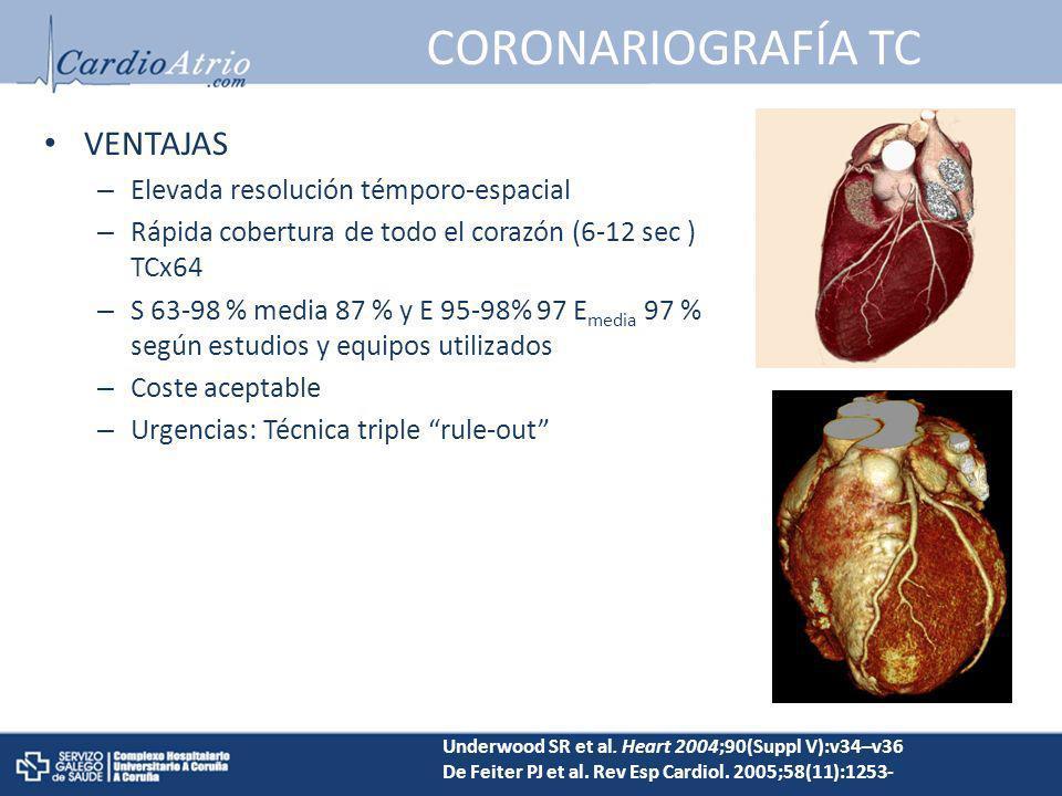 CORONARIOGRAFÍA TC VENTAJAS – Elevada resolución témporo-espacial – Rápida cobertura de todo el corazón (6-12 sec ) TCx64 – S 63-98 % media 87 % y E 9
