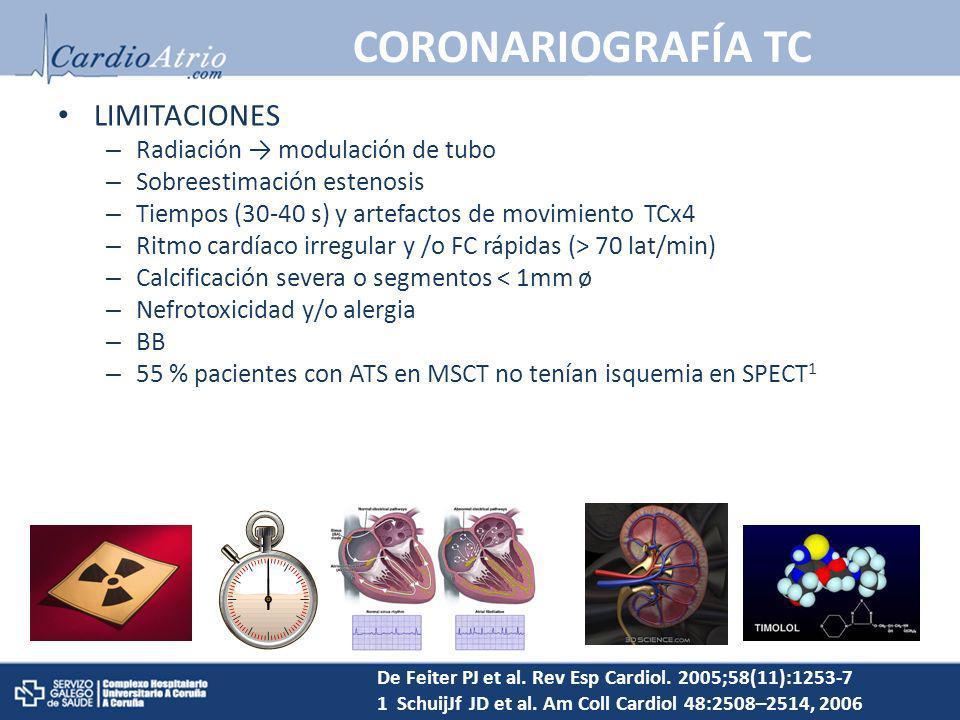 LIMITACIONES – Radiación modulación de tubo – Sobreestimación estenosis – Tiempos (30-40 s) y artefactos de movimiento TCx4 – Ritmo cardíaco irregular